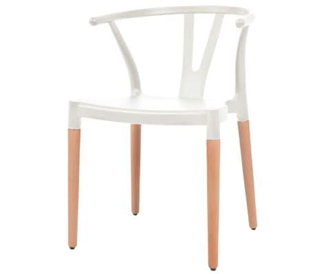 vidaXL Jedálenské stoličky 2 ks, biele, plastové sedadlo, oceľové nohy[4/6]