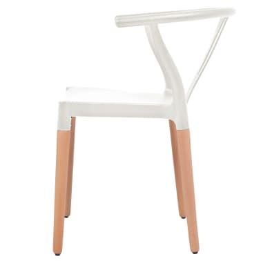 vidaXL Jedálenské stoličky 2 ks, biele, plastové sedadlo, oceľové nohy[3/6]