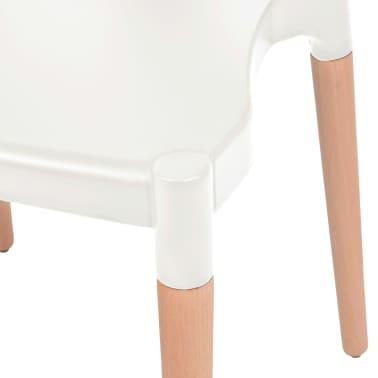 vidaXL Jedálenské stoličky 2 ks, biele, plastové sedadlo, oceľové nohy[5/6]
