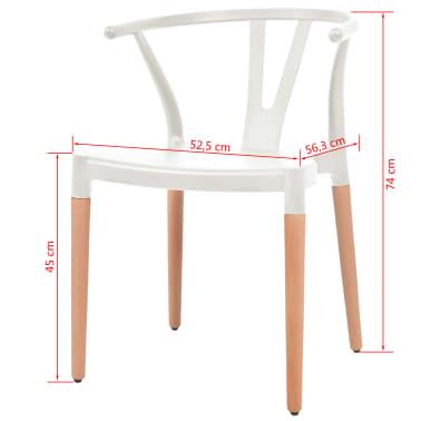 vidaXL Jedálenské stoličky 2 ks, biele, plastové sedadlo, oceľové nohy[6/6]
