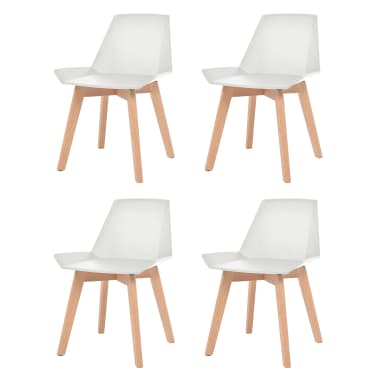 Vidaxl Dining Chairs 4 Pcs White Plastic Seat Beech Wood Legs 1 6