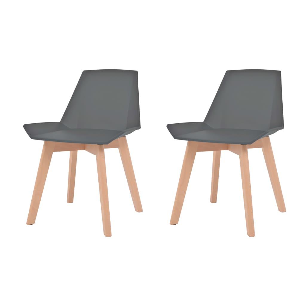 vidaXL Καρέκλες Τραπεζαρίας 2 τεμ. Γκρι Πλαστικές