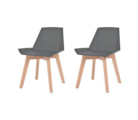 vidaXL Трапезни столове, 2 бр, сиви, пластмаса