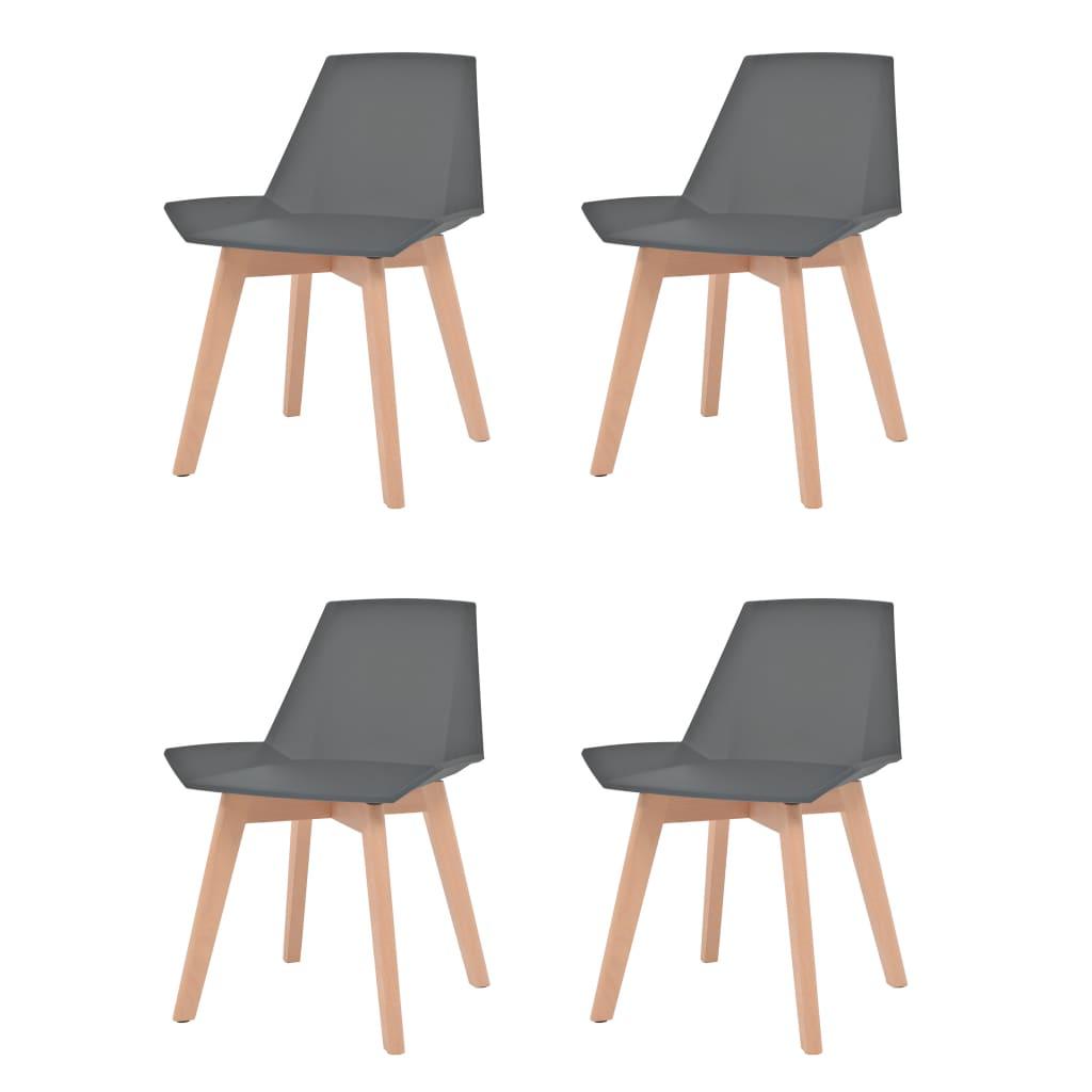 vidaXL Καρέκλες Τραπεζ. 4 τεμ. Γκρι Πλαστικό Κάθισμα/Πόδια από Οξιά