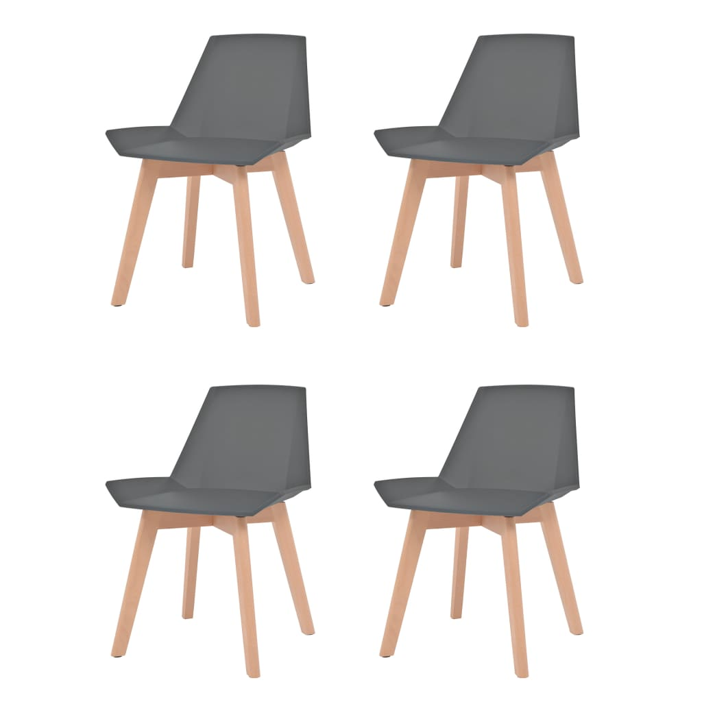 vidaXL Καρέκλες Τραπεζαρίας 4 τεμ. Γκρι Πλαστικές