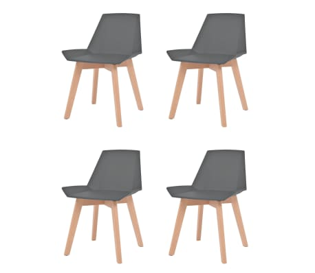 vidaXL Jedilni stoli 4 kosi siva plastika