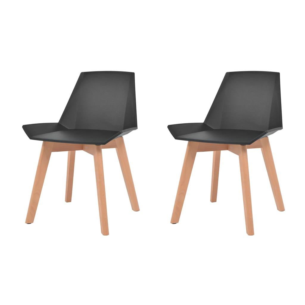 vidaXL Καρέκλες Τραπεζ. 2 τεμ. Μαύρες Πλαστικό Κάθισμα/Πόδια από Οξιά