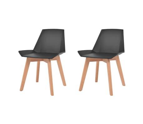 vidaXL Valgomojo kėdės, 2vnt., juodos spalvos, plastikas