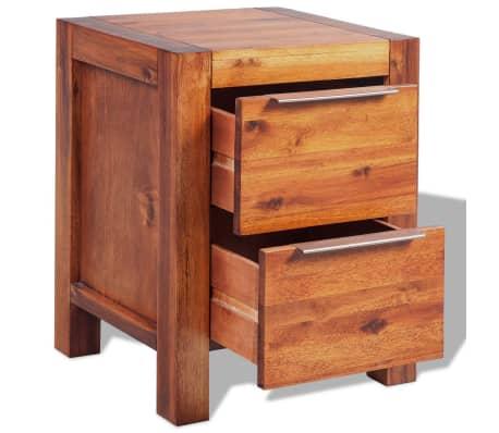 vidaXL Bed with Nightstands Solid Acacia Wood Brown Queen Size[13/14]