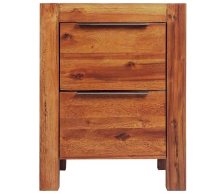 vidaXL Bed with Nightstands Solid Acacia Wood Brown Queen Size[11/14]