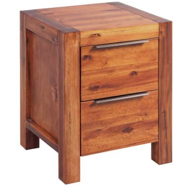 vidaXL Bed with Nightstands Solid Acacia Wood Brown Queen Size[10/14]