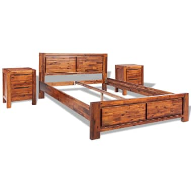 vidaXL Bed with Nightstands Solid Acacia Wood Brown King Size[2/14]