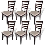vidaXL Dining Chairs 6 pcs Fabric Brown and Cream