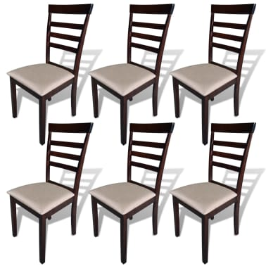 vidaXL Dining Chairs 6 pcs Fabric Brown and Cream[1/3]