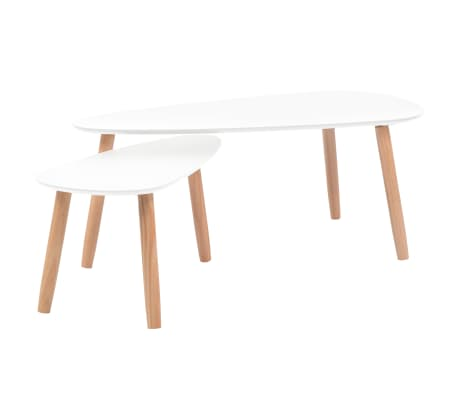 vidaXL Coffee Table Set 2 Pieces Solid Pinewood White[2/12]
