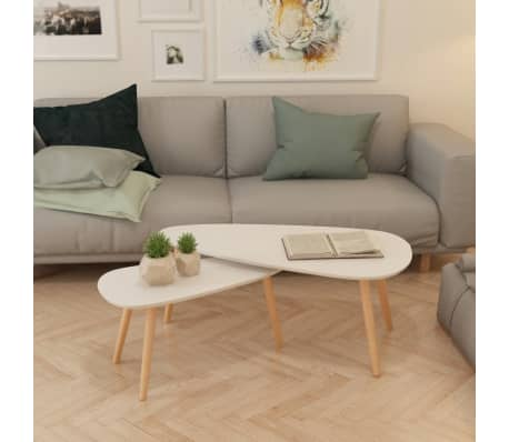 vidaXL Coffee Table Set 2 Pieces Solid Pinewood White[3/12]