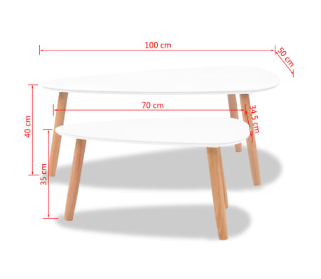 vidaXL Coffee Table Set 2 Pieces Solid Pinewood White[12/12]
