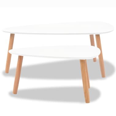 vidaXL Coffee Table Set 2 Pieces Solid Pinewood White[5/12]