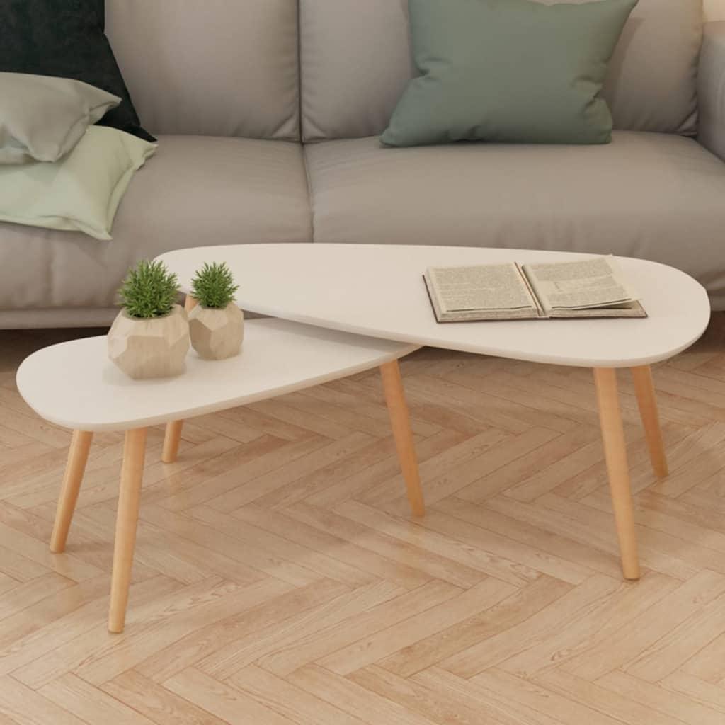 de BOIS Massif Salon 2X Basse Pin Blanc VIDAXL Canapé Table 0m8wvNOn