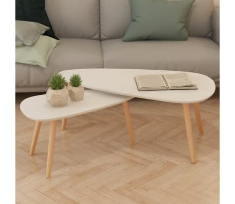 vidaXL Coffee Table Set 2 Pieces Solid Pinewood White[1/12]
