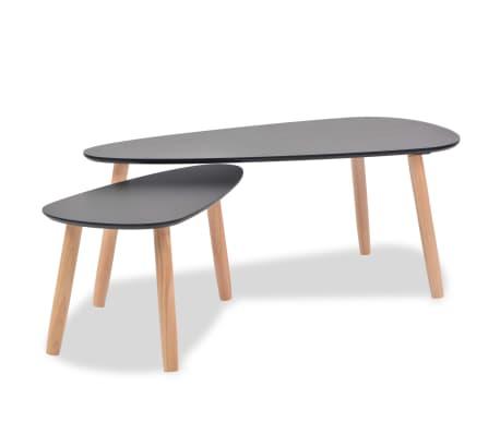 vidaXL Set masă cafea, 2 piese, lemn masiv de pin, negru