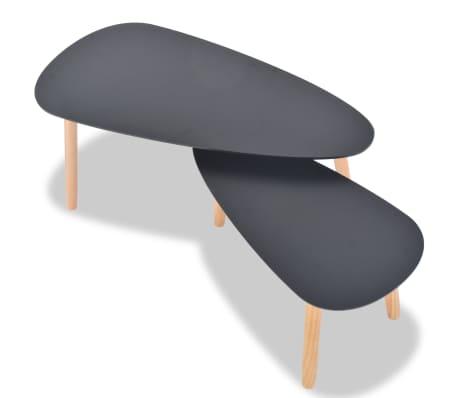 vidaXL Ensemble de tables basses 2 pcs Bois de pin massif Noir[5/12]