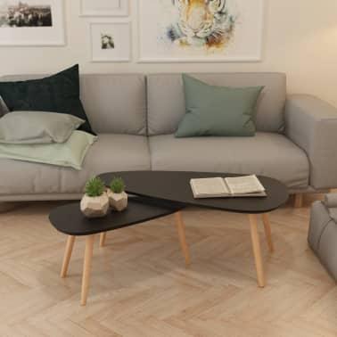 vidaXL Ensemble de tables basses 2 pcs Bois de pin massif Noir[12/12]