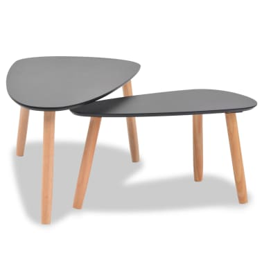 vidaXL Ensemble de tables basses 2 pcs Bois de pin massif Noir[4/12]