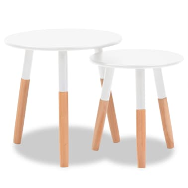 vidaXL Side Table Set 2 Pieces Solid Pinewood White[2/9]