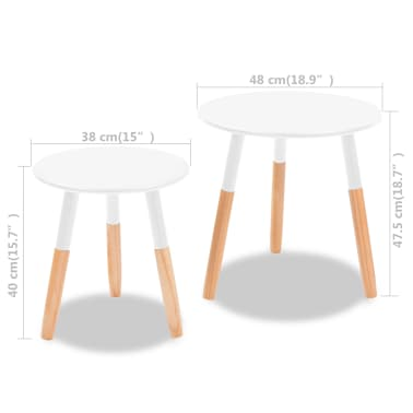 vidaXL Side Table Set 2 Pieces Solid Pinewood White[9/9]