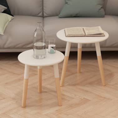 vidaXL Side Table Set 2 Pieces Solid Pinewood White[1/9]
