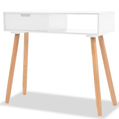 vidaXL Table console Bois de pin massif 80 x 30 x 72 cm Blanc[1/6]