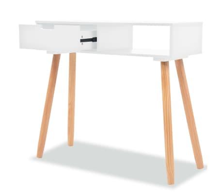 vidaXL Table console Bois de pin massif 80 x 30 x 72 cm Blanc[2/6]