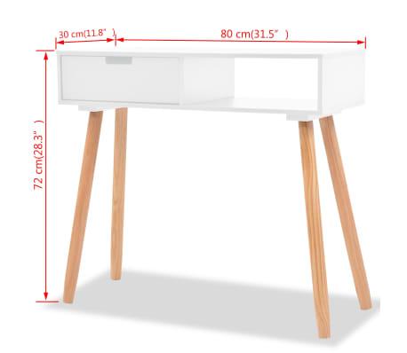 vidaXL Table console Bois de pin massif 80 x 30 x 72 cm Blanc[6/6]