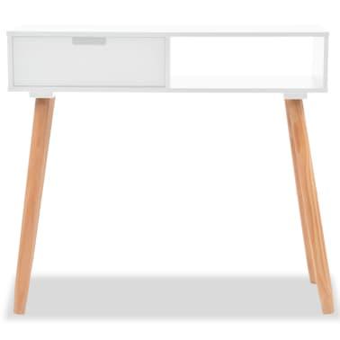 vidaXL Table console Bois de pin massif 80 x 30 x 72 cm Blanc[3/6]