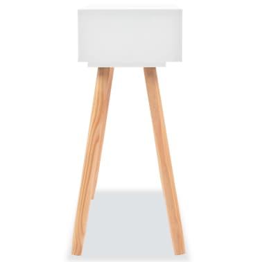 vidaXL Table console Bois de pin massif 80 x 30 x 72 cm Blanc[4/6]