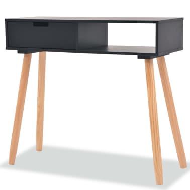 vidaXL Table console Bois de pin massif 80 x 30 x 72 cm Noir[1/6]