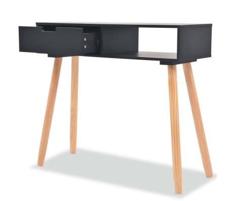 vidaXL Table console Bois de pin massif 80 x 30 x 72 cm Noir[2/6]