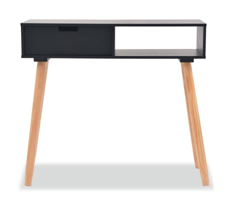 acheter vidaxl table console bois de pin massif 80 x 30 x 72 cm noir pas cher. Black Bedroom Furniture Sets. Home Design Ideas