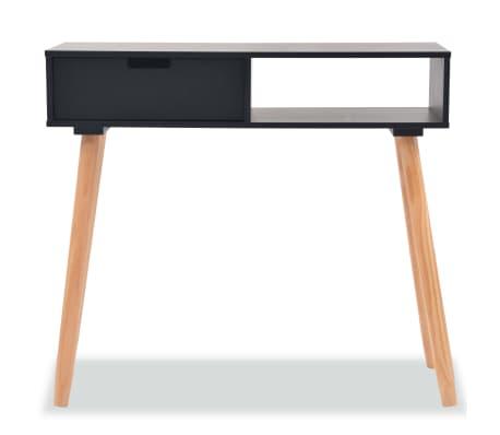 vidaXL Table console Bois de pin massif 80 x 30 x 72 cm Noir[3/6]