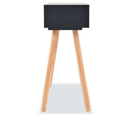 vidaXL Table console Bois de pin massif 80 x 30 x 72 cm Noir[4/6]