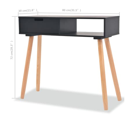 Consolle 30 Cm.Vidaxl Console Table Solid Pinewood 80x30x72 Cm Black