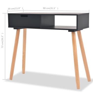 vidaXL Table console Bois de pin massif 80 x 30 x 72 cm Noir[6/6]