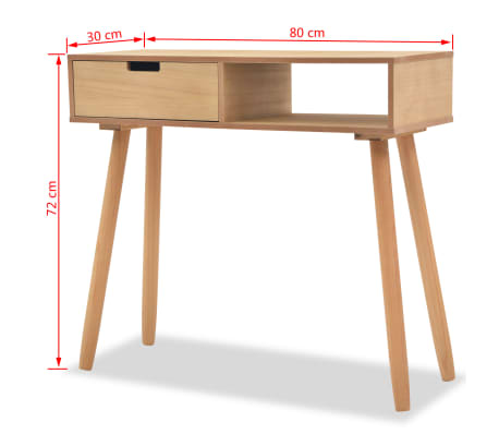 vidaXL Table console Bois de pin massif 80 x 30 x 72 cm Marron[6/6]