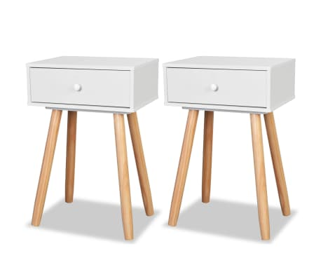 "vidaXL Side Tables 2 pcs Solid Pinewood 15.7""x11.8""x24"" White"