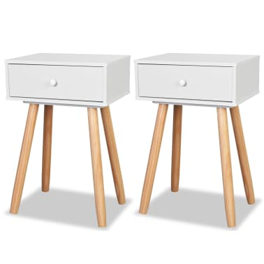 acheter vidaxl table de chevet 2 pcs bois de pin massif 40 x 30 x 61 cm blanc pas cher. Black Bedroom Furniture Sets. Home Design Ideas