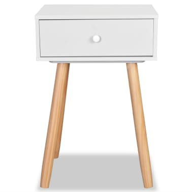 vidaXL Noptiere din lemn masiv de pin 2 buc, 40 x 30 x 61 cm, alb[4/8]