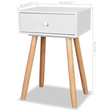 vidaXL Noptiere din lemn masiv de pin 2 buc, 40 x 30 x 61 cm, alb[8/8]
