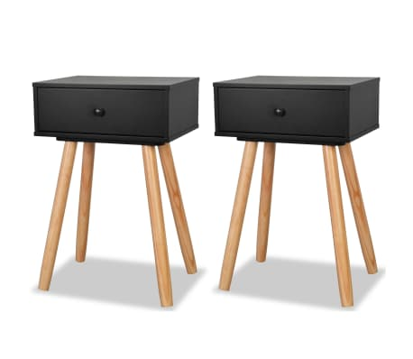 Vidaxl Table De Chevet 2 Pcs Bois De Pin Massif 40 X 30 X 61 Cm Noir