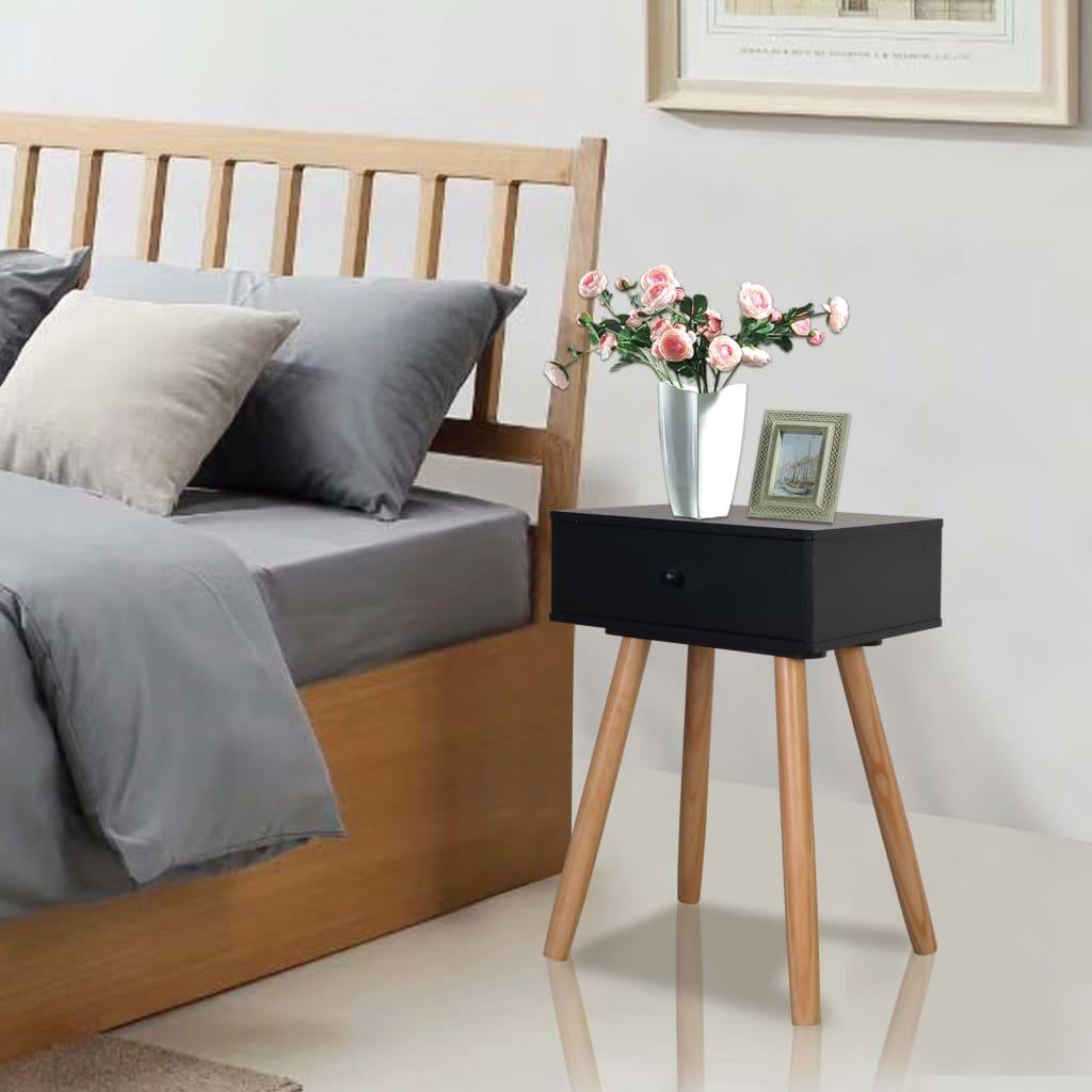 vidaXL Noční stolek, 2 ks, masivní borovice, 40x30x61 cm, černý